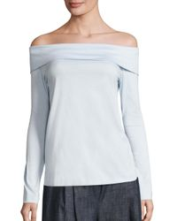 Tibi | Blue Off-the-shoulder Mercerized Cotton Top | Lyst