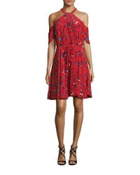 Shoshanna   Red Cold-shoulder Silk Floral-print Dress   Lyst
