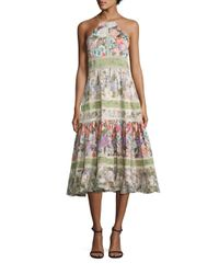 Rebecca Taylor | Multicolor Printed Cotton & Silk Halter Dress | Lyst