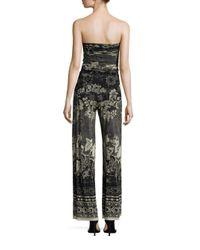 Fuzzi - Black Batik Floral Strapless Jumpsuit - Lyst