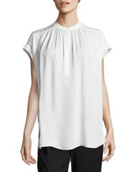 VINCE | White Solid Silk Top | Lyst