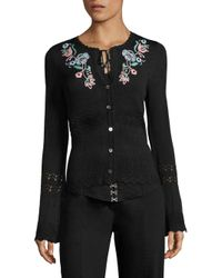 Nanette Lepore | Black Lovesong Embroidered Cardigan | Lyst