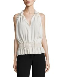 Theory | White Dezzie Smocked Silk Georgette Blouse | Lyst