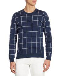Lacoste   Blue Windowpane Jacquard Crewneck Sweater for Men   Lyst