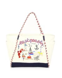Tory Burch - Multicolor Nautical Canvas East Coast Tote - Lyst