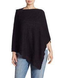 Eileen Fisher | Black Rib-knit Slub Poncho | Lyst