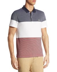 Lacoste - Multicolor Striped Textured Cotton Polo for Men - Lyst