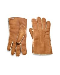 Prada - Brown Shearling Gloves for Men - Lyst