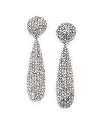 Kenneth Jay Lane | Metallic Pave Teadrop Earrings/silvertone | Lyst
