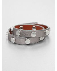 Tory Burch | Double-wrap Metallic Leather Bracelet/silvertone | Lyst