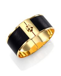 Tory Burch | Black Skinny Leather Inlay Cuff Bracelet | Lyst