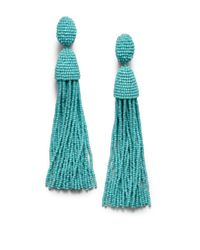 Oscar de la Renta | Blue Long Beaded Tassel Clip-on Earrings | Lyst
