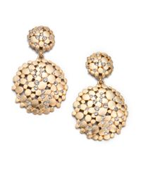 ABS By Allen Schwartz | Metallic Pavé Double Drop Earrings | Lyst