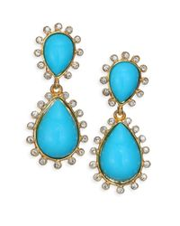 Kenneth Jay Lane | Blue Cabochon Clip-on Teardrop Earrings | Lyst