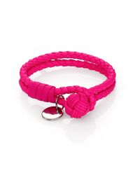 Bottega Veneta | Pink Intrecciato Leather Double-row Wrap Bracelet | Lyst