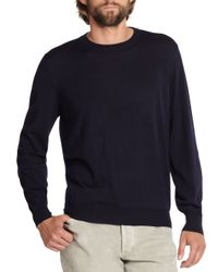 Brunello Cucinelli | Blue Wool/cashmere Crewneck Sweater for Men | Lyst