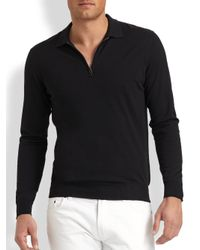 Ferragamo | Black Wool Polo Sweater for Men | Lyst