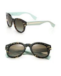 Fendi | Green Colorblocked Round Sunglasses | Lyst