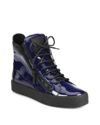 Giuseppe Zanotti | Blue Patent Double Zip High-top Sneakers | Lyst