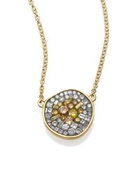 Plevé | Metallic Sunburst Diamond & 18k Yellow Gold Pebble Pendant Necklace | Lyst