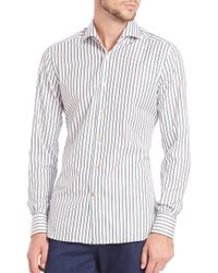 Kiton | Blue Shadow Stripe Cotton Sportshirt for Men | Lyst
