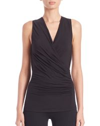 Donna Karan - Black Draped Jersey Top - Lyst