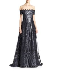 Rene Ruiz | Metallic Art Deco Cap-sleeved Gown | Lyst