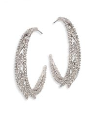 Alexis Bittar - Metallic Crystal-encrusted Spiked Lattice Hoop Earrings/1.5 - Lyst