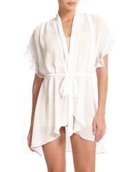 Jonquil | White Raquel Chiffon Short Wrap Robe | Lyst