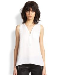 The Kooples - White Silk Zip Tank - Lyst