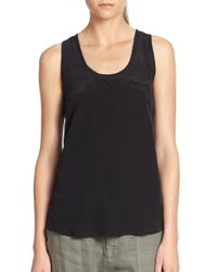 Joie | Black Alicia Silk Racerback Tank Top | Lyst