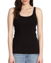 Eileen Fisher | Black Organic Cotton Tank Top | Lyst
