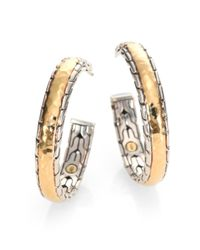 John Hardy | Metallic Palu 18k Yellow Gold & Sterling Silver Medium Hoop Earrings/2.5 | Lyst