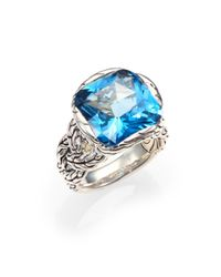 John Hardy | Classic Chain London Blue Topaz & Sterling Silver Braided Ring | Lyst