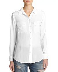 Equipment   White Slim Signature Silk Shirt   Lyst