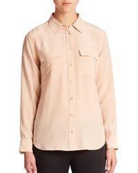 Equipment | Natural Slim Signature Silk Shirt | Lyst