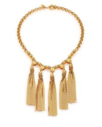 House of Lavande | Metallic Sunset Crystal Tiered Tassel Necklace | Lyst