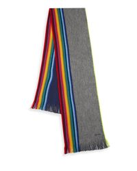 Paul Smith - Gray Wool Rainbow Print Scarf for Men - Lyst