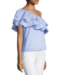 Vineyard Vines - Blue Seersucker One-shoulder Top - Lyst