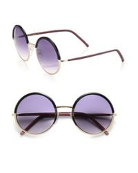 Cutler & Gross - Black 54mm Leather-trimmed Round Sunglasses - Lyst