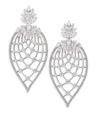 Adriana Orsini - Metallic Magnolia Crystal Petal Drop Earrings - Lyst