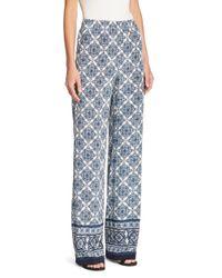 St. John - Blue Wide Leg Pants - Lyst