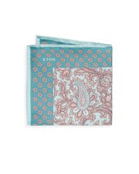 Eton of Sweden - Green Paisley-print Silk Pocket Square for Men - Lyst