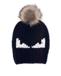 Fendi - Blue Monster Fur-pom Wool Hat for Men - Lyst