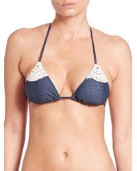 L*Space - Blue Lucy Triangle Bikini Top - Lyst