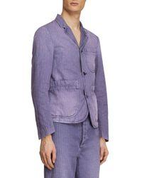 Burberry - Blue Slim-fit Striped Workwear Jacket for Men - Lyst