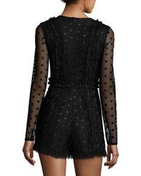 Alexis - Black Samira Sheer Dot Long-sleeve Romper - Lyst