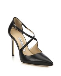 Manolo Blahnik - Black Umice Leather Crisscross Pumps - Lyst