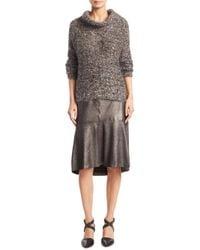 Brunello Cucinelli - Gray Mohair Cowlneck Sweater - Lyst