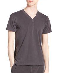 Splendid Mills - Gray Cotton V-neck Tee for Men - Lyst